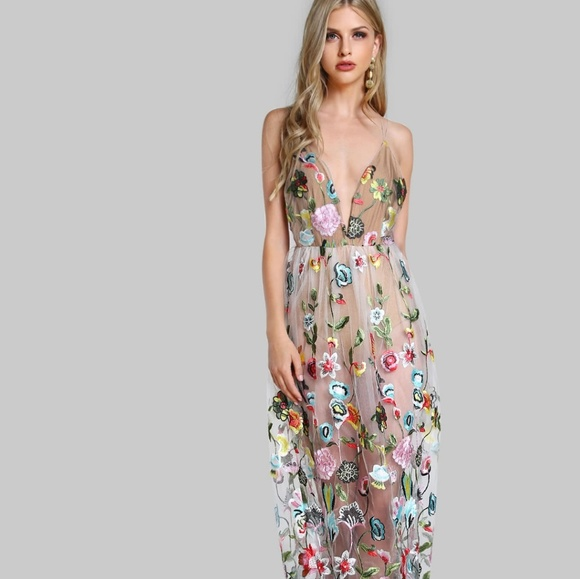 dd6f378187a2 SHEIN Dresses | Gorgeous Sheer Floral Bodysuit Maxi Dress | Poshmark